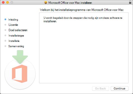 Eerste scherm van Mac 2016-installatie waarbij 'Doorgaan' is gemarkeerd