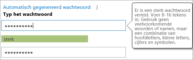Shows the password requirements if you type a password
