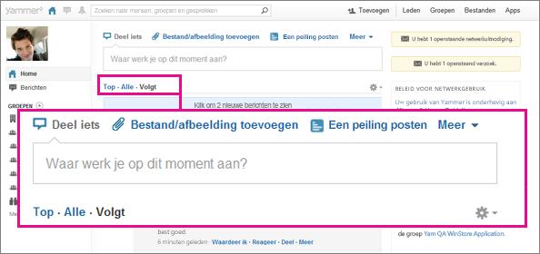 Screenshot van de Yammer-website met een roze vak met de wisselknop voor Top, Alle en Volgen gemarkeerd.
