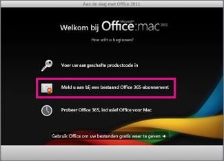 Installatiepagina van Office voor Mac voor Thuisgebruik wanneer u zich aanmeldt bij een bestaand Office 365-abonnement.