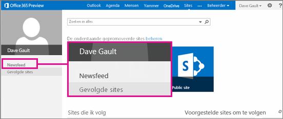 Schermafbeelding van de pagina Sites, waarbij de koppeling Newsfeed is gemarkeerd