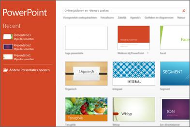 Startscherm van PowerPoint 2013