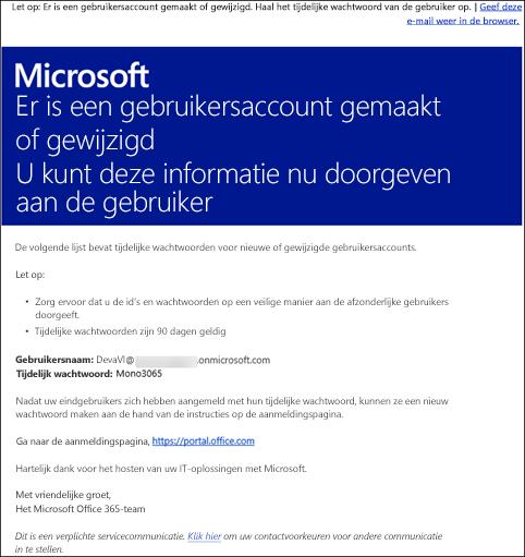 Een voorbeeld van een e-mail die Office 365-account- en aanmeldingsgegevens bevat