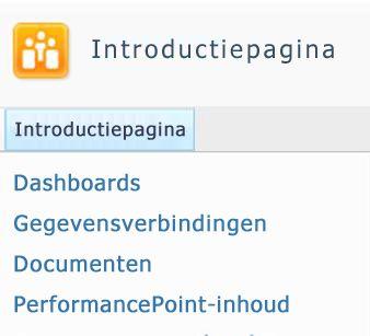 Beschikbare SharePoint-lijsten en -bibliotheken worden linksboven op de SharePoint-site vermeld