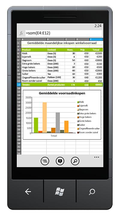Excel-werkmap open op telefoon