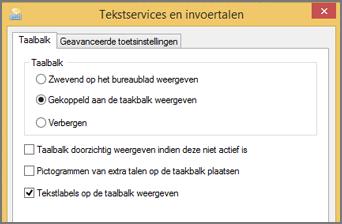 Office 2016 Windows 8 Tekstservices en invoertalen