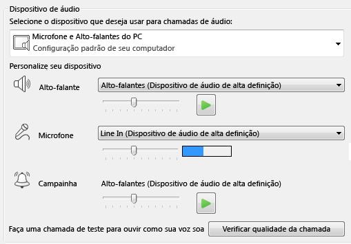 Captura de tela da caixa de seleção de dispositivo de áudio, onde você pode definir a qualidade do áudio