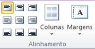 Grupo de alinhamento de caixa de texto no Publisher 2010