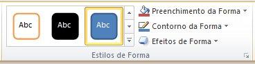 O grupo Estilos de Formas, na guia Formatar.