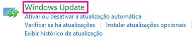 Link Windows Update do Windows 8 no Painel de Controle