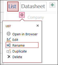 Settings menu with Open in browser, Edit, Rename, Duplicate, and Delete