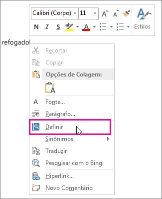 Imagem do menu do botão direito do mouse mostrando o comando Definir