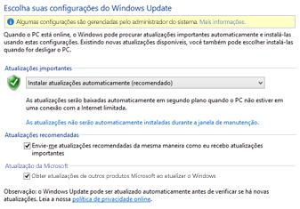 Configurações do Windows Update do Windows 8 no Painel de Controle