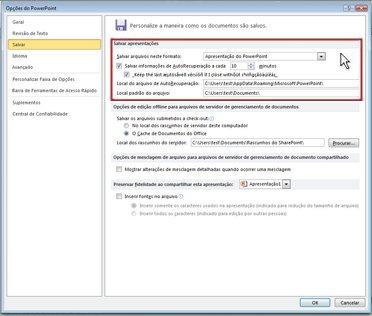 Definir as configurações de AutoRecuperação ou Salvamento Automático
