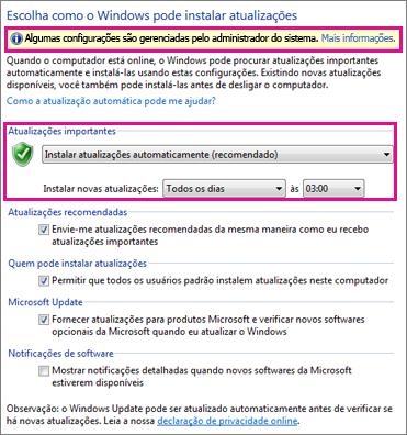Configurações de atualização automática