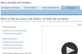 Tela do guia de introdução para o modelo de banco de dados de contatos