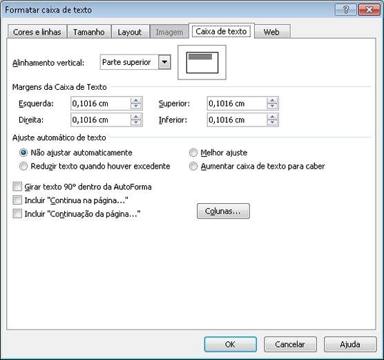 Caixa de diálogo Texto no Publisher 2010