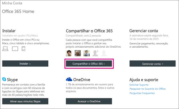 """Captura de tela da página Minha Conta com o botão """"Compartilhar o Office 365"""" selecionado."""