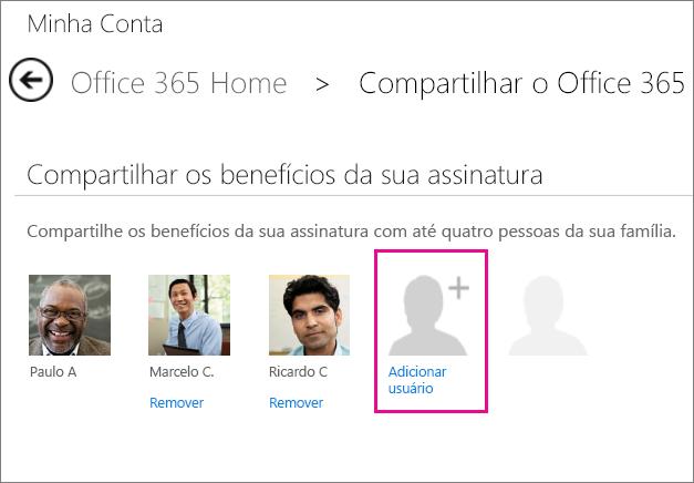 """Captura de tela da página Compartilhar o Office 365 com a opção """"Adicionar usuário"""" selecionada."""