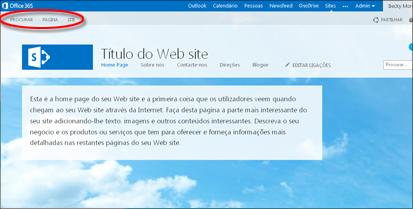 Esquema de página pré-definido para um Web site público do Office 365