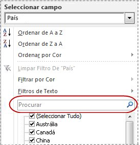 Caixa de pesquisa na lista de filtros