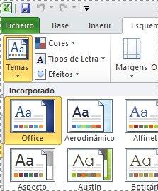 Galeria de temas no Excel 2010