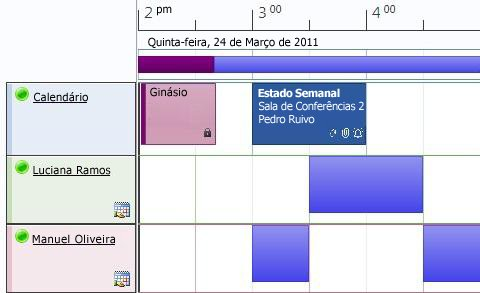Vista de agenda do calendário