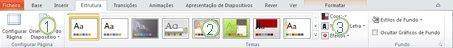 Separador Estrutura no friso do PowerPoint 2010.
