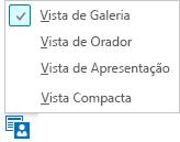 Captura de ecrã das vistas de reunião disponíveis com a Vista de Galeria selecionada
