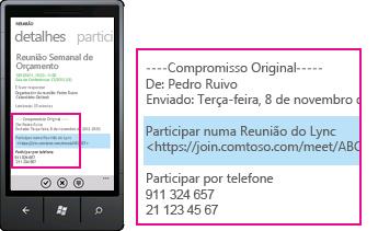 Captura de ecrã a mostrar o pedido de Participar na Reunião do Lync no Lync para clientes móveis