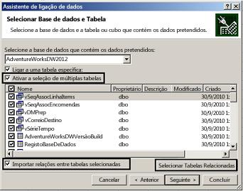 Caixa de verificação Ativar seleção de várias tabelas