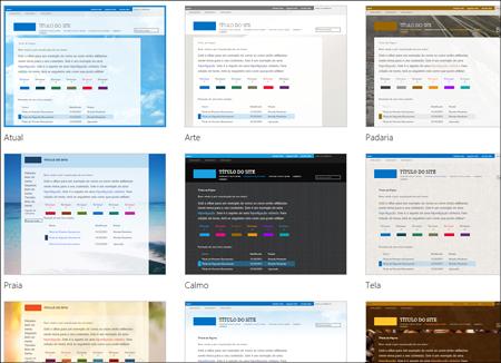 Página de seleção de modelos do Office 365, a qual mostra os modelos opcionais para tema e esquema do site público