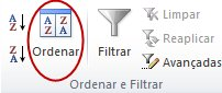 Comando Ordenar no grupo Ordenar e Filtrar no separador Dados do Excel