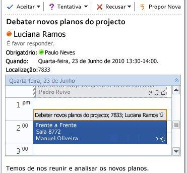 Vista Rápida do Calendário na mensagem de pedido de reunião