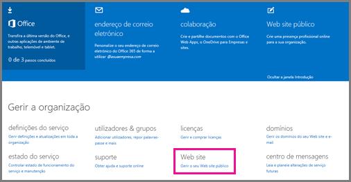 Página Admin a mostrar a página Gerir o Web site público.