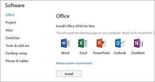 O ecrã de instalação de software das Definições do Office 365 num Mac