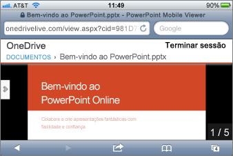 Apresentação de diapositivos no Mobile Viewer para PowerPoint