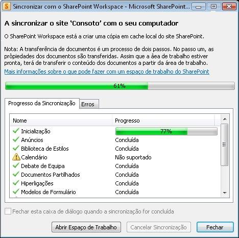 Janela de progresso Sincronizar com o Computador
