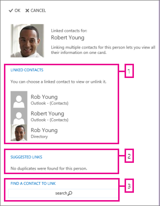 página dos contactos ligados