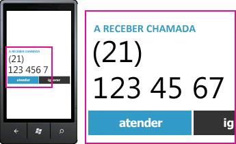 Captura de ecrã a mostrar o número de telefone de uma chamada recebida e o botão de resposta num cliente móvel do Lync