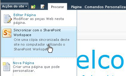 Seleccione esta opção para sincronizar um site SharePoint com o computador