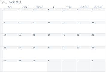 O vizualizare calendar