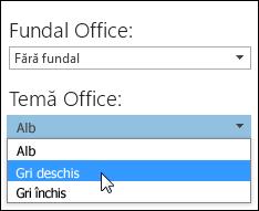 Alegerea altei teme Office