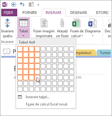 Inserați un tabel în OneNote.