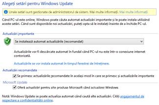 Setările Windows Update din Panoul de control Windows 8