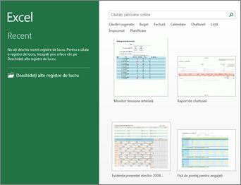 Câteva dintre șabloanele care sunt disponibile în Excel