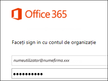 Ecran de conectare la portalul Office 365