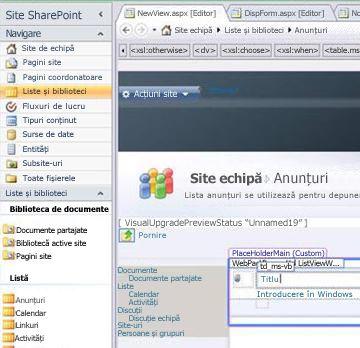 Crearea unei vizualizări în Microsoft SharePoint Designer 2010
