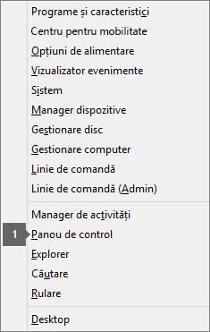 Lista de opțiuni și de comenzi pe care o vedeți după ce apăsați tasta siglă Windows X