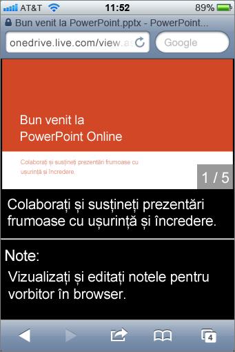 Diapozitive și note vorbitor în Vizualizator PowerPoint Mobile